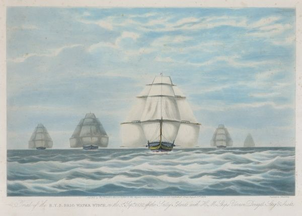 The Trial of the Royal Yacht Squadron brig WATER WITCH off the Scilly Islands with H M Ships Vernon, Donegal, Stag and Snake