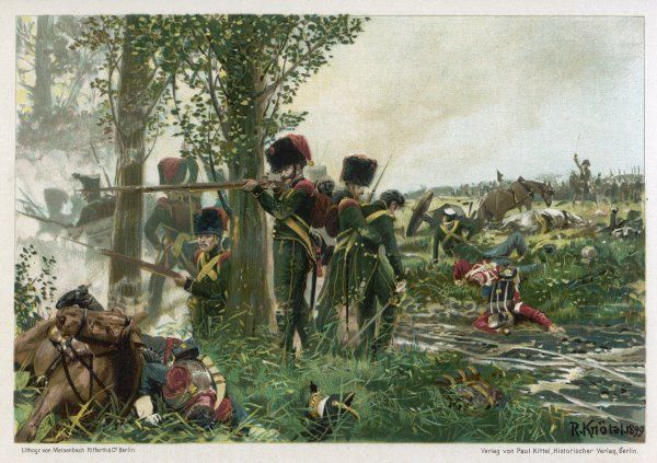 Battle of WATERLOO Troops of the Nassau Regiment defend their position against the French at La Belle Alliance