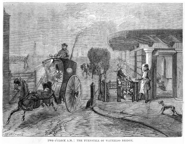 A hansom cab passes through the toll-gate on Waterloo Bridge