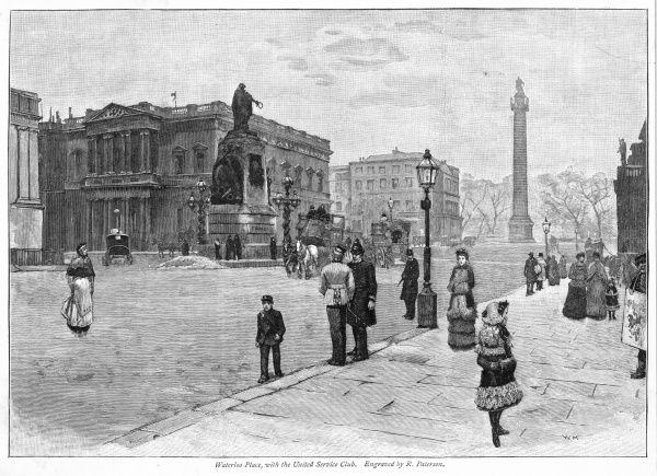 Duke of York's column and St James's Park ahead, Pall Mall off to the right, Trafalgar Square out of sight on the left : the prominent building is the United Service Club