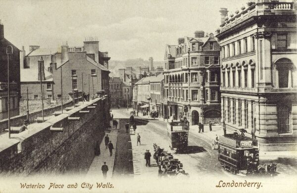 Waterloo Place and the City Walls, Londonderry, Northern Ireland Date: circa 1900