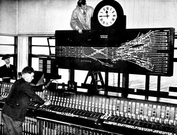 Photograph showing the then-new electric signal box installed at Waterloo Station, London, in 1936