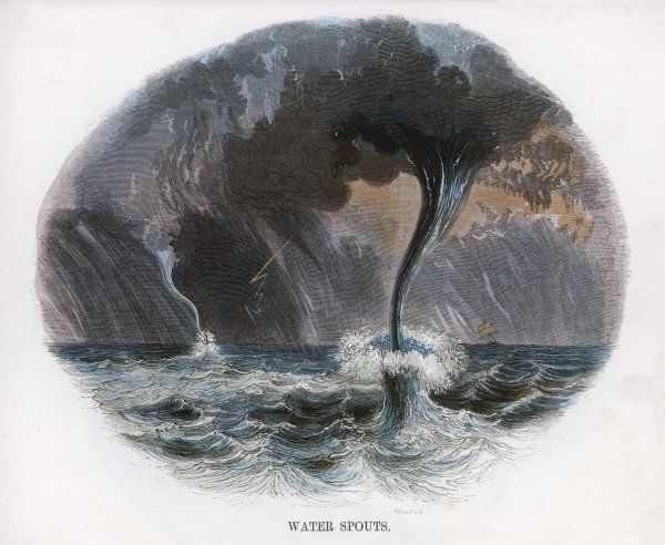 An electrical storm at sea with two waterspouts (a tiny ship can be seen in the distance)