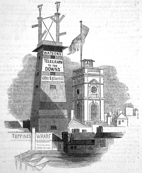 View from Borough in London, of Watson's Telegraph, one of a series of stations connecting London with Deal on Britain's south coast