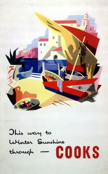 Illustration on a Thomas Cook poster or handbill -- This way to winter sunshine through Cooks -- with a brightly coloured image of a Mediterranean village, with sea, villas, boats, and a palm tree