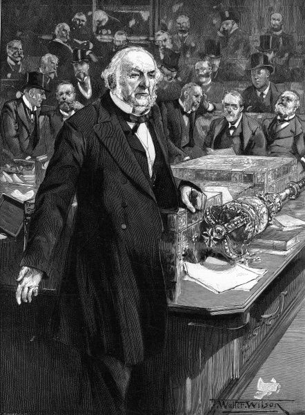 Engraving showing William Ewart Gladstone (1809-1898) making his last speech in the House of Commons as Prime Minister, on the 1st March 1894. The speech was about the Parish Councils Bill Amendments