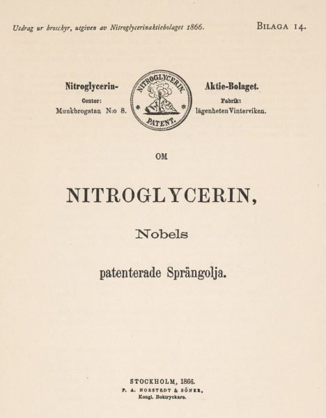 Title-page of Alfred Nobel's patent for nitroglycerine, issued at Stockholm 1866