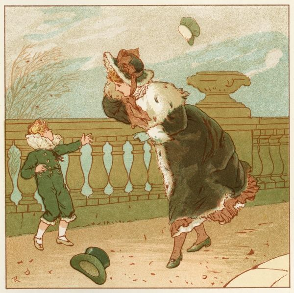 A windy day in the month of March. A school boys hat gets blown off while a woman walks into the wind holding on to hers