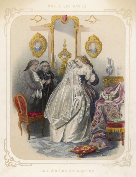 After the wedding, a bride takes a tearful farewell of her mother - 'the first separation !' - while the groom and the priest wait