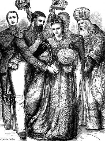 Front cover engraving from 'The Graphic' showing Prince Alfred, Duke of Edinburgh during the marriage ceremony to the Grand Duchess Marie Alexandrovna of Russia in the Winter Palace of St