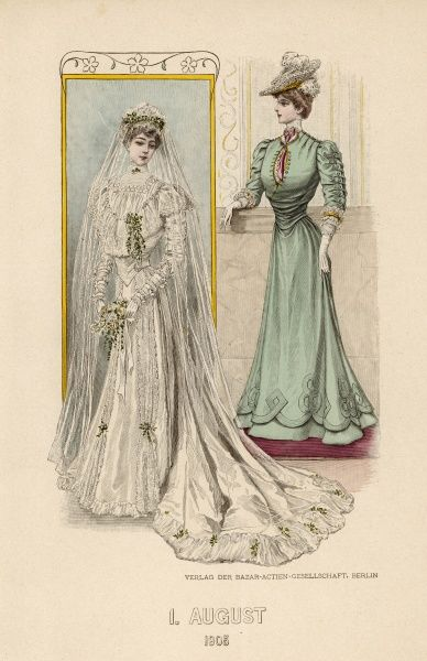 A lady in a wedding dress with train and mob cap headwear with veil; and a woman in a green dress with buttoned sleeves