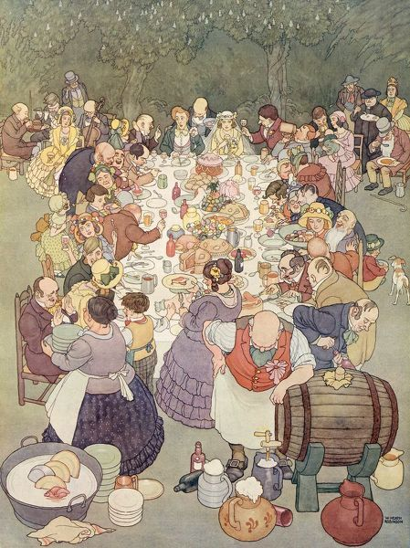 Finely detailed colour illustration by William Heath Robinson (1872-1944) showing a wedding feast amid a rural setting