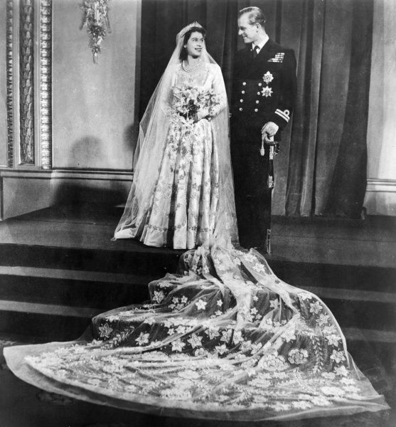 Wedding portrait of Princess Elizabeth (Queen Elizabeth II) and Lieutenant Philip Mountbatten who were married at Westminster Abbey on 20 November 1947.  1947