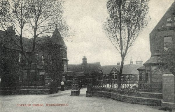 Entrance to The Wednesfield Cottage Homes, Staffordshire, established by the Wolverhampton Union in 1890 at a site on Amos Lane, to house pauper children away from the workhouse. As well as eight 'cottages', each housing 30 boys or girls
