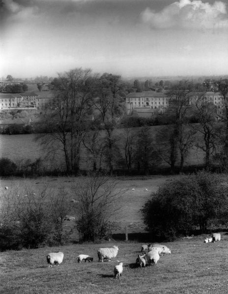 A distant view of Wheedon Barracks, Northamptonshire, England. Date: 1960s