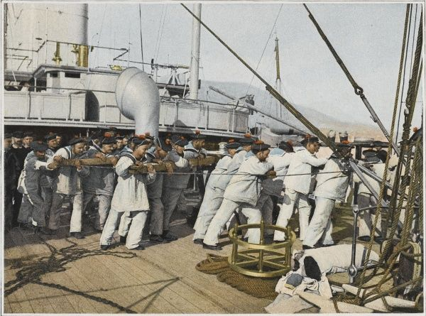 48 French sailors man the capstan to weigh the anchor on a French warship