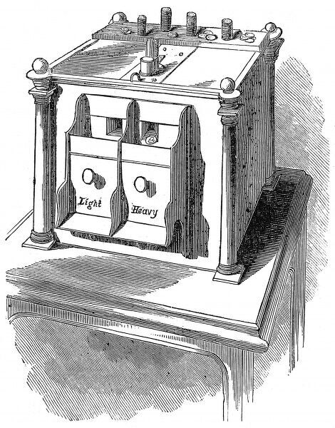Engraving of the Exterior of the Sovereign Weighing Machine at the Bank of England