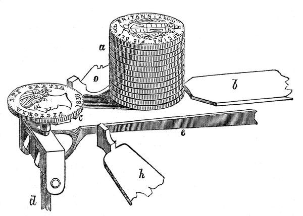 Engraving of a detail of the Sovereign weighing machine invented by Mr Bate to deal with the crisis in light gold coinage in the early eighteen forties