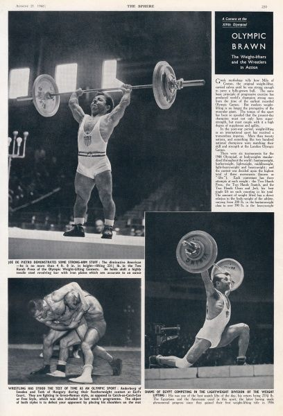 This full page of the Sphere shows weight-lifters Joe de Pietro of America (top) and Shams of Egypt (bottom right), and wrestlers Anderberg of Sweden and Toth of Hungary. Date: 1948
