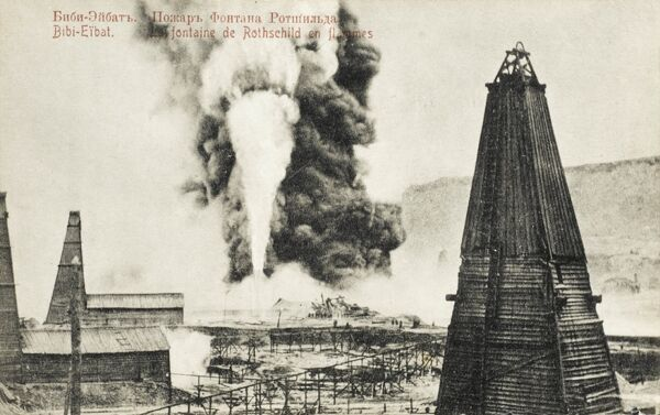 Naphta burnout at a well at Baku, owned by Rothschilds, who began drilling in Azerbaijan in 1892. Rothchilds fuel interests in the region were bought out by Royal Dutch Shell in 1911