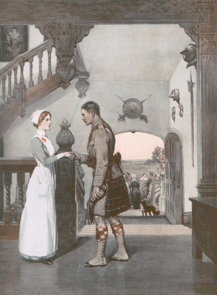 A kilted soldier from one of the Highland regiments says goodbye to his nurse when leaving a hospital which appears to have been set up in a stately home