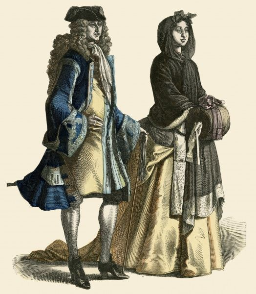 Well-born Germans, he in a long flowing wig, she in hooded cape and muff Date: circa 1715