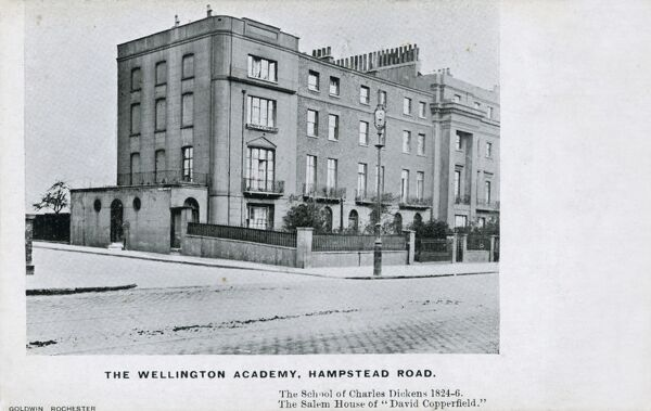 The Wellington Academy, Hampstead Road, London. The School attended by Charles Dickens between 1824 and 1826. The Salem House in 'David Copperfield'. From a series of cards depicting places connected to the life of the writer Charles Dickens