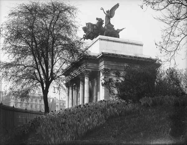 The Wellington Arch, Hyde Park Corner, London, was built in honour of Arthur Wellesley, Duke of Wellington, in 1828, as the northern gateway into Buckingham Palace
