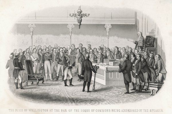 The duke of Wellington stands at the bar of the House of Commons to receive the congratulations of the Speaker on his victory at Vimiero, Peninsula campaign