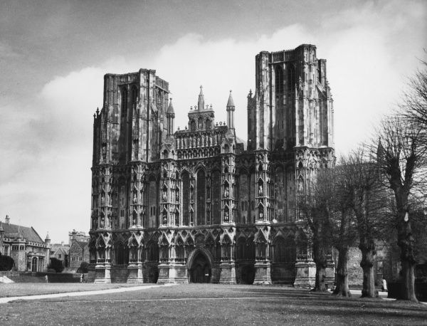 The famous West Front of Wells Cathedral, Somerset, England, which has over 600 figures of Kings, Queens, Princes, Ecclesiastics and Nobles sculpted onto its facade