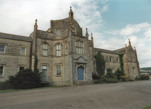 The entrance of the former Wells Union Workhouse, Somerset. The buildings were designed by Samuel T Welch. The site later became Priory Hospital. Date: 2000