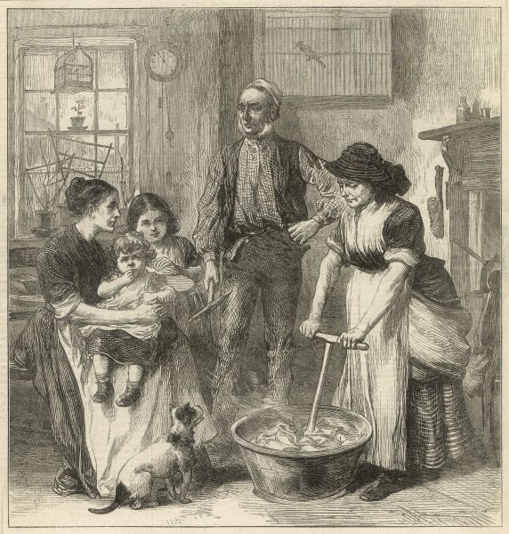 This shows the living conditions of Welsh colliers during the strike in South Wales. The interior of the cottage appears to be one room which is crowded with a woman doing the laundry, another sitting with two children and a small animal (dog or a cat)