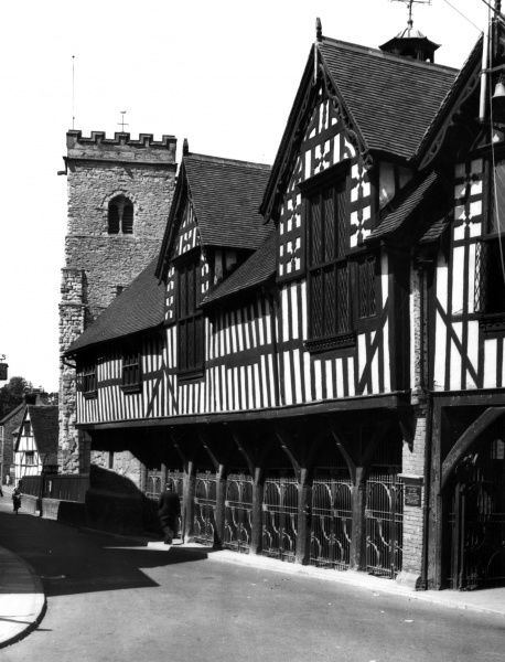 The splendid Guildhall at Much Wenlock, Shropshire, England. Date: 16th century