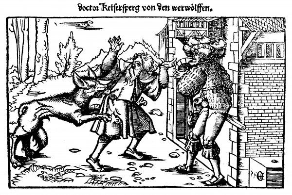 A werewolf attacks a man at the entrance to a house