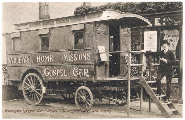 METHODIST MISSION Mr George Coook's Wesleyan Home Missions Touring Gospel Car carries the Methodist message throughout Britain