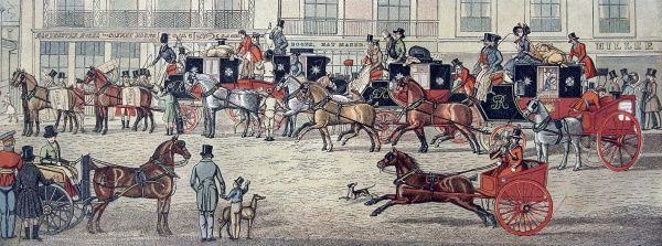 Horse-drawn carriages from the West Country bringing mail to the Gloucester Coffee House, Piccadilly, London