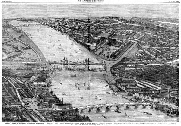 Engraving showing an aerial view of the West End of London, from Vauxhall (in foreground) to Battersea (back, left). Victoria Bridge is shown crossing the River Thames in the centre of the image
