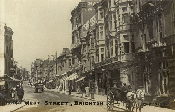 West Street, Brighton with the Hotel Victoria (right) Date: circa 1910s