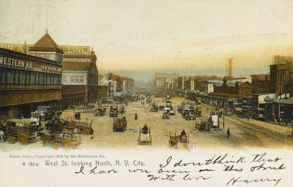 West street and the docks, New York City, America
