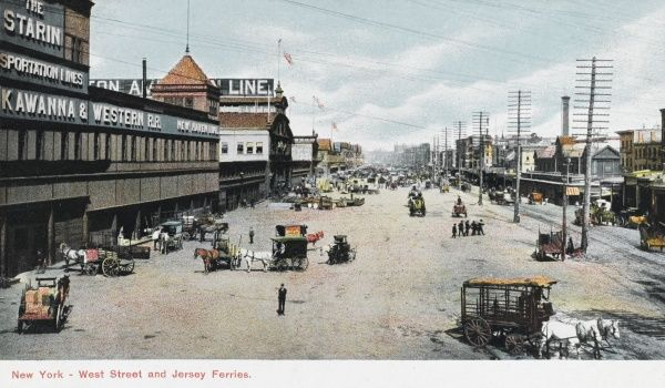 West Street and Jersey Ferries, New York City, America