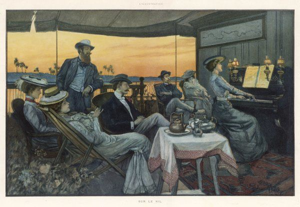 A group of western passengers on a Nile steamer, listening to a young woman play the piano