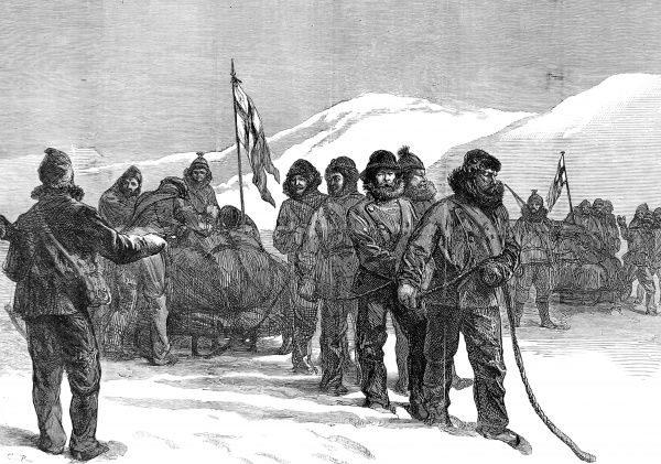 Engraving showing Western sledging party setting out from HMS 'Alert' to explore the coast of Ellesmere Island, April 1876