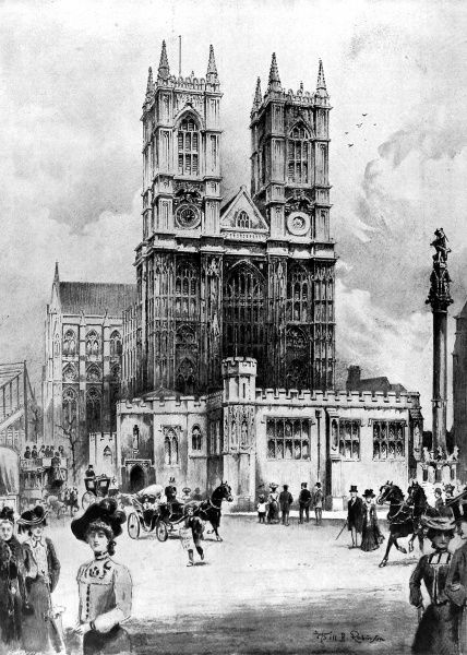 Illustration showing the exterior of Westminster Abbey, London, with the temporary Annex at the Great West Door, 1902. The annex was built to contain reception and retiring rooms for the King and Queen during their 1902 coronation