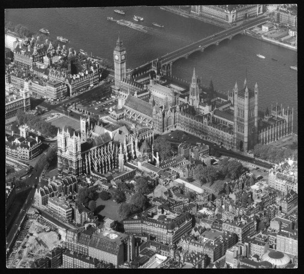 An aerial photograph of Westminster Abbey, the Houses of Parliament and Big Ben