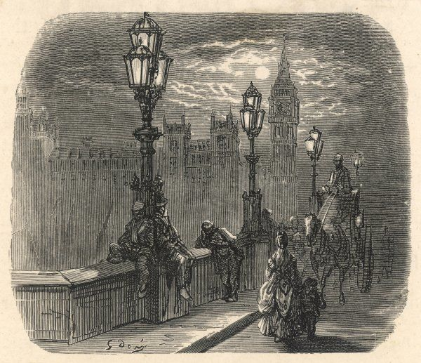 A night-time view across Westminster Bridge, with the Houses of Parliament in the distance, and a number of hard-up men sleeping rough under the stars