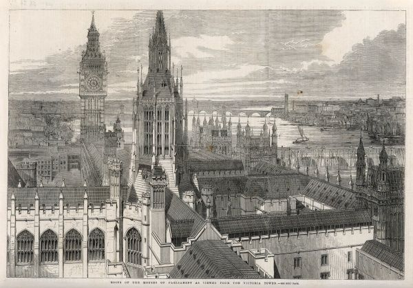 The view from the Victoria Tower of the Houses of Parliament, London
