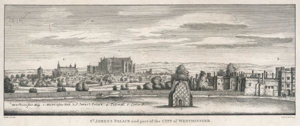 Ancient view of St. James's Palace & part of the City of Westminster including Westminster Abbey, Hall, Pall Mall & a conduit where St James's Square now stands