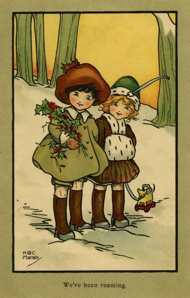 We've been roaming -- two children with holly and a toy dog in the snow.  20th century