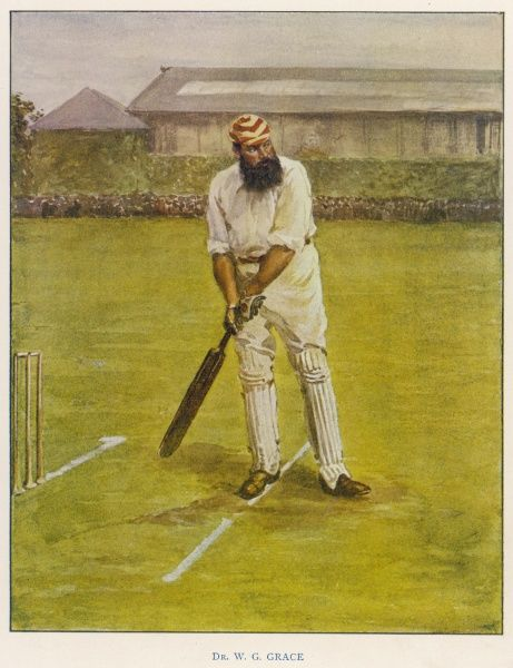 The legendary cricketer, Dr. W.G. Grace poised with his bat