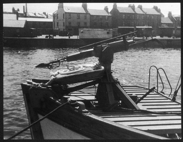 A harpoon gun on the deck of the Norwegian whaling ship M. V. 'Rodny', at Ayr Harbour, Scotland